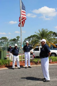 Members of La Casa's Veterans Club participate in the traditional Memorial Day tribute.  Pictured are Rick Amos (who played taps), Larry Morris, Erwin Breeden and Bruce Goodenough (who led the tribute).