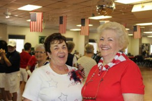 Cheryl Crawford and Barb Smith, decked out in their patriotic outfits.