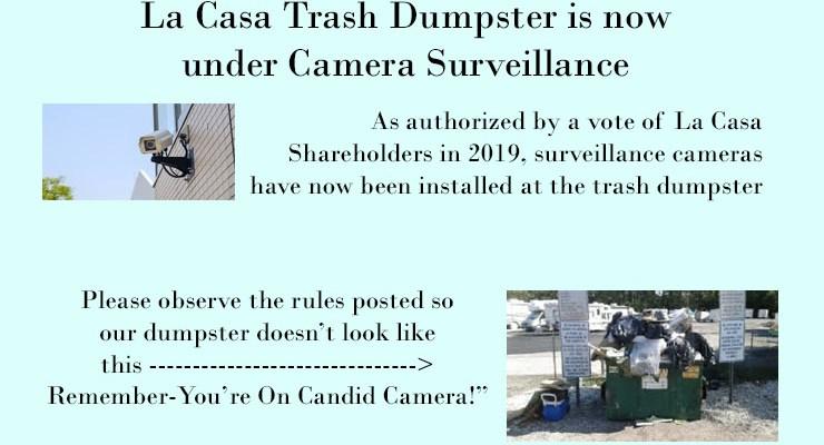 Cameras Installed at the Trash Dumpster – Jan 29, 2020