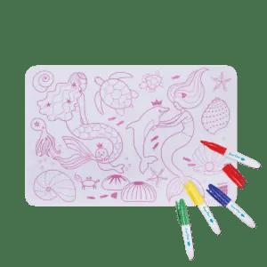 Mini Playmat SIRENE Réversible super petit coloriage set de table set coloriage