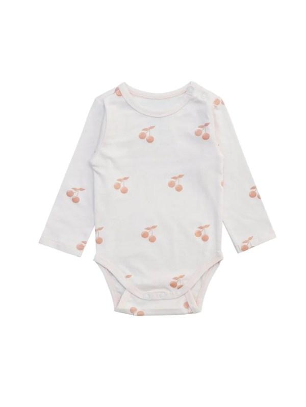 Body cerise en coton bio vêtement bébé