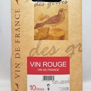 Serres de grives Vin de France rouge 12° 10 litres