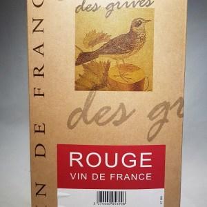 Serres de grives Vin de France rouge 12° 5 litres