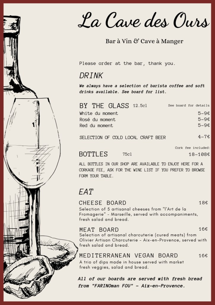 Wines by the glass, bottle selection and meat cheese and vegan boards available on our menu all day from 10:30am to 8:30pm non-stop.