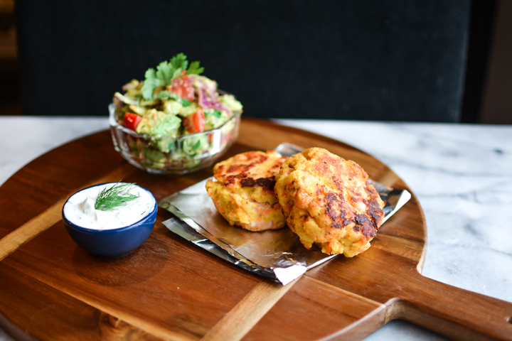 Salmon Burgers with fresh avocado salsa