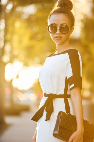 fashion blogger, winter white fashion, petite fashion blog, fashionista, lace and locks, los angeles fashion blogger, ann taylor petites, dress, chanel handbag, outfit of the day, christian louboutin shoes
