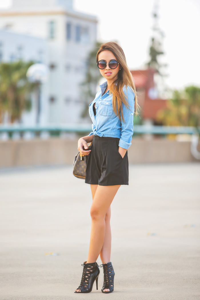 fashion blogger, petite fashion blog, fashionista, lace and locks, los angeles fashion blogger, jcrew, chambray, spring booties, nine west booties, black booties, louis vuitton speedy, affordable fashion, asian fashion blogger, streetstyle
