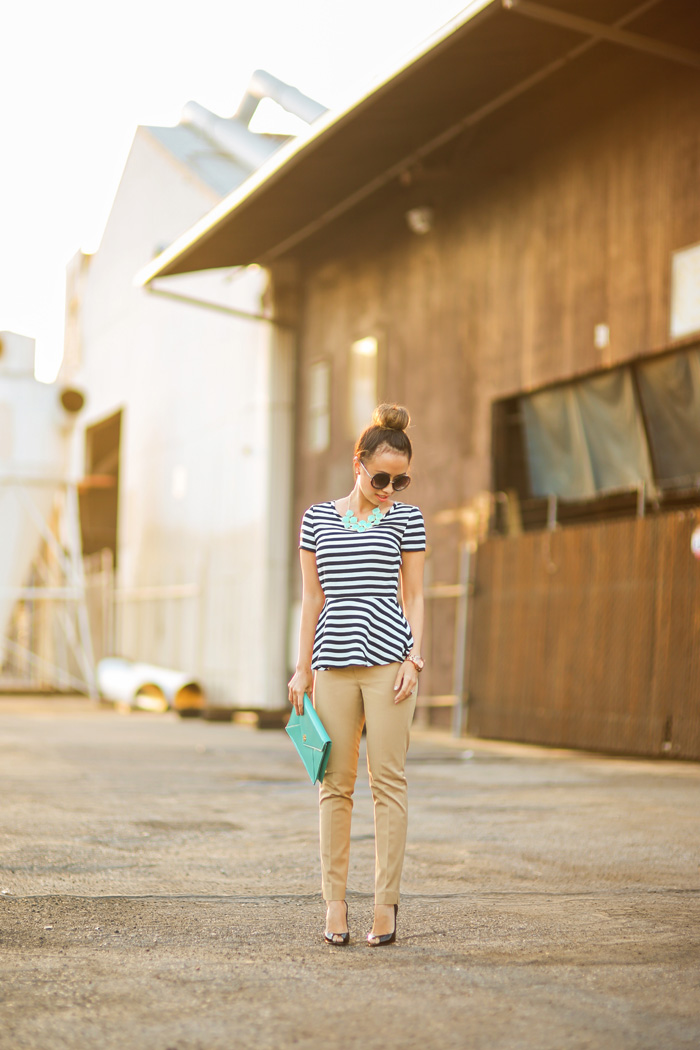 fashion blogger, petite fashion blog, fashionista, lace and locks, los angeles fashion blogger, banana republic top, banana republic pants, work attire, tory burch clutch, peplum top, stripes top, affordable fashion, asian fashion blogger, streetstyle, christian louboutin pumps