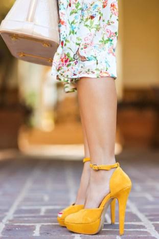 fashion blogger, petite fashion blog, fashionista, lace and locks, los angeles fashion blogger, spring fashion, summer fashion, affordable fashion, midi skirt, garden skirt, floral skirt, ruche, yellow heels, louis vuitton pink alma
