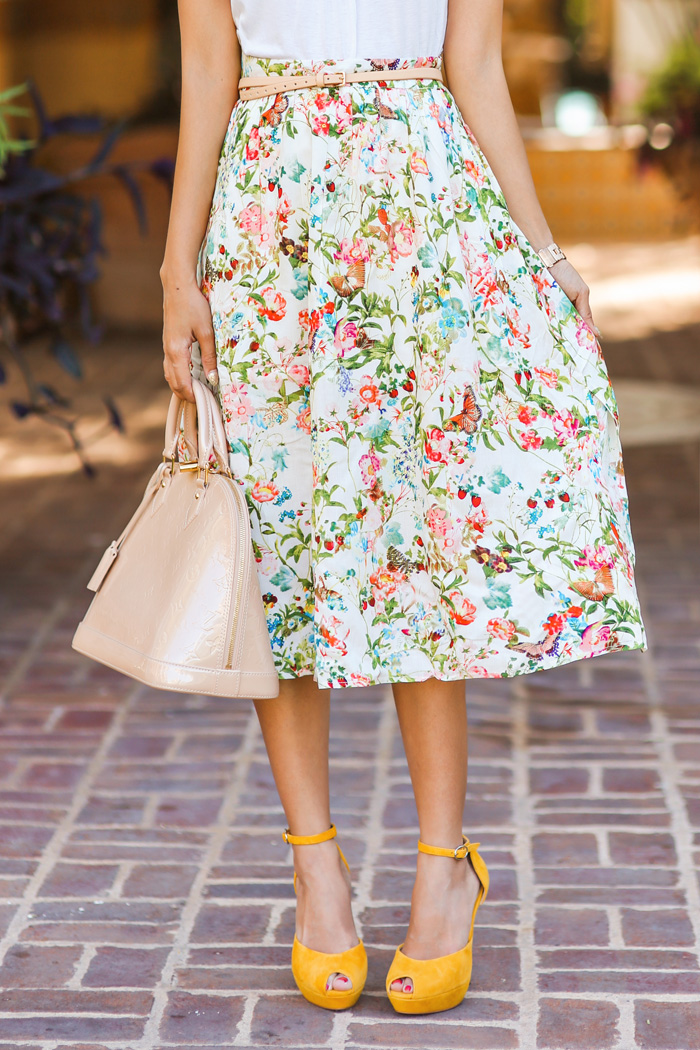 fashion blogger, petite fashion blog, fashionista, lace and locks, los angeles fashion blogger, spring fashion, summer fashion, affordable fashion, midi skirt, garden skirt, floral skirt, ruche, yellow heels, louis vuitton pink alma