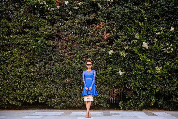 fashion blogger, petite fashion blog, fashionista, lace and locks, los angeles fashion blogger, cobalt blue lace dress, sheinside dress, lace dress, streetstyle, christian louboutin glitter, morning lavender boutique