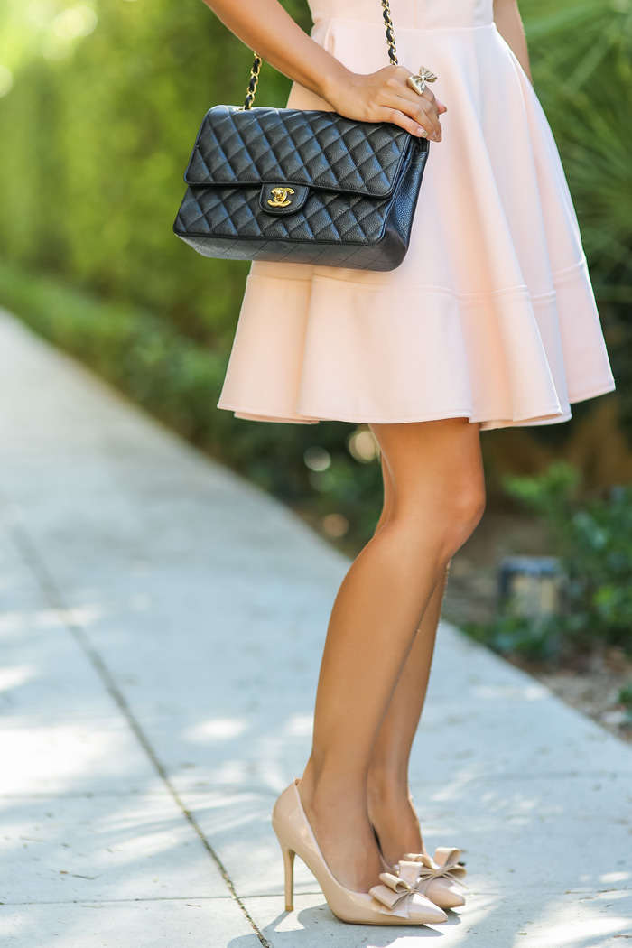 lace and locks petite fashion blogger chanel handbag pink fit and flare dress - 04