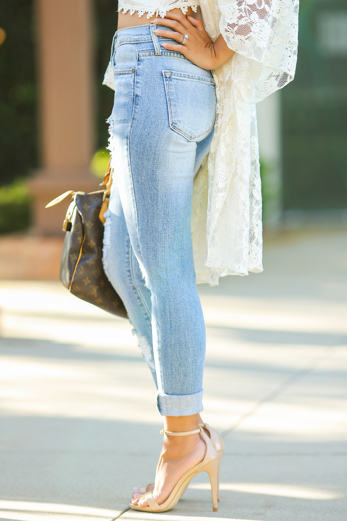 fashion blogger, petite fashion blog, fashionista, lace and locks, los angeles fashion blogger, boyfriend jeans, morning lavender boutique, lace kimono, steve madden stecy sandal,
