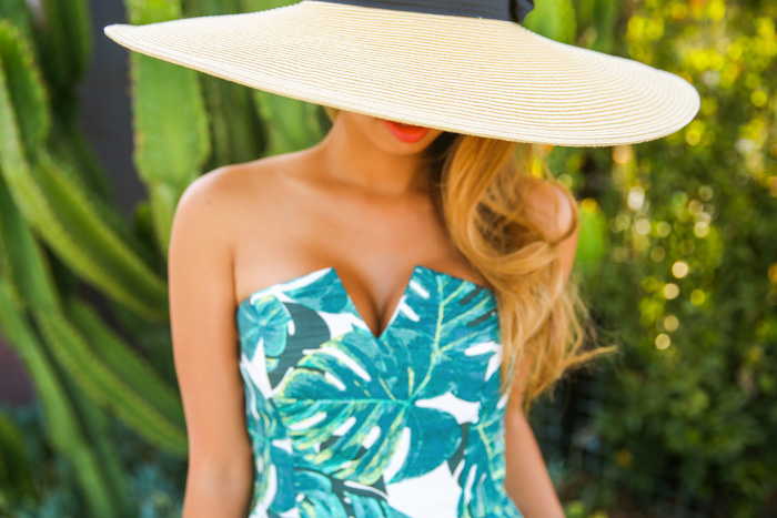 fashion blogger, petite fashion blog, fashionista, lace and locks, los angeles fashion blogger, tropic romper, topshop romper, morning lavender boutique, summer hat, toms wedges