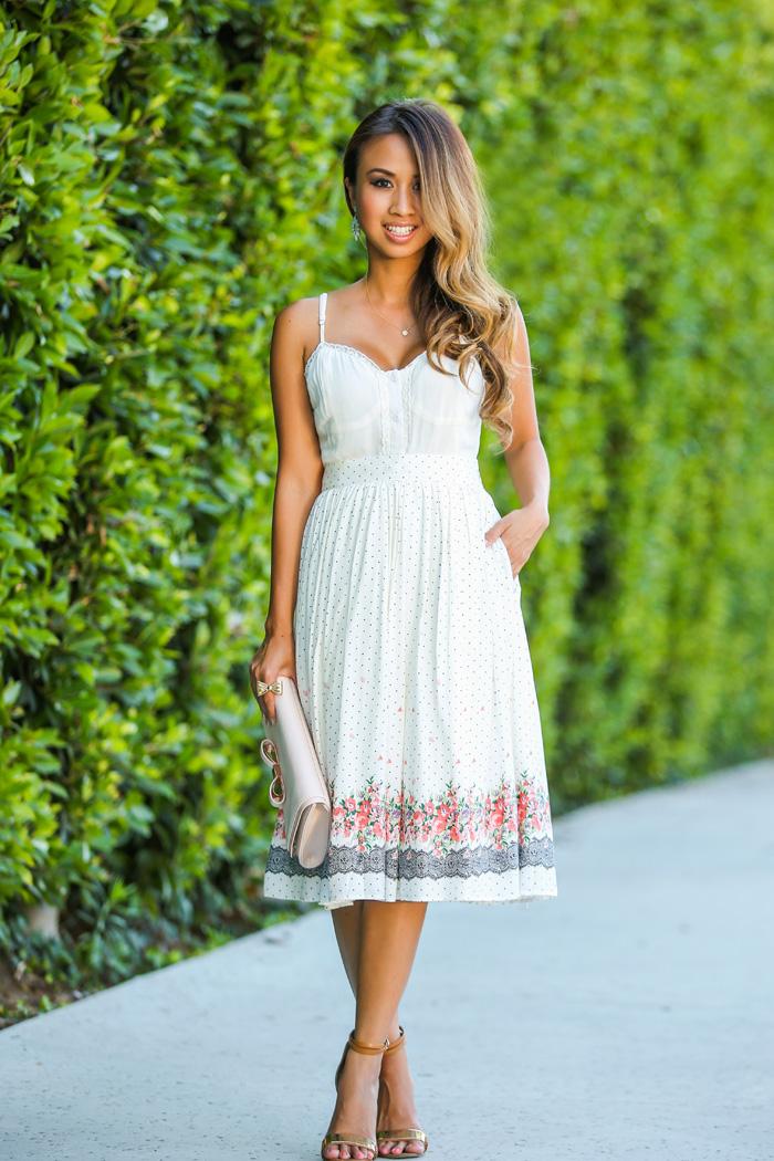 db5801ace lace and locks petite fashion blogger morning lavender polka dot midi skirt  – 02