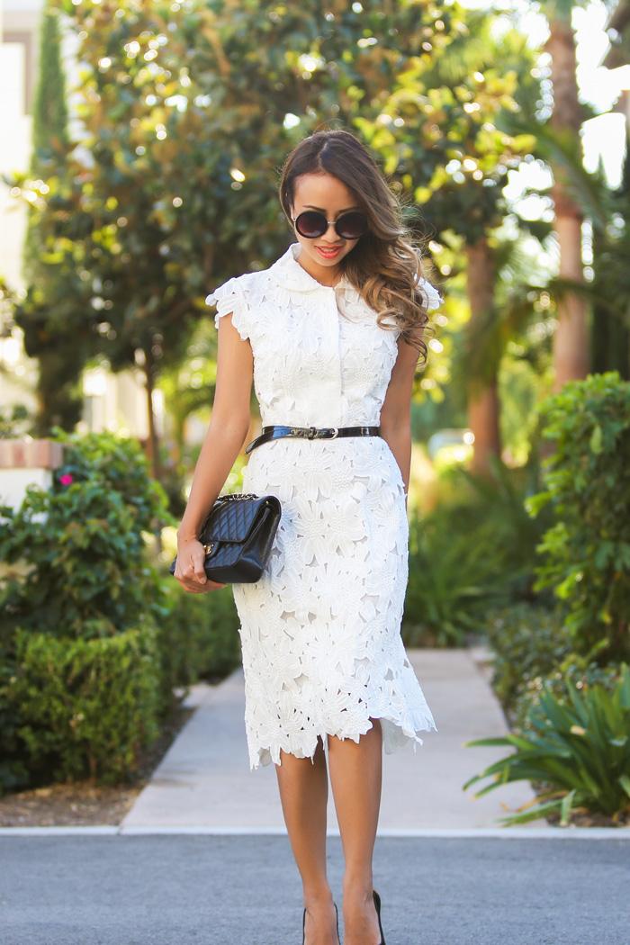 fashion blogger, petite fashion blog, fashionista, lace and locks, los angeles fashion blogger, chicwish lace dress, white lace dress, midi lace dress, chanel medium quilt bag