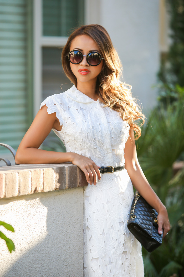 fashion blogger, petite fashion blog, fashionista, lace and locks, los angeles fashion blogger, chicwish lace dress, white lace dress, midi lace dress, chanel medium quilt bag