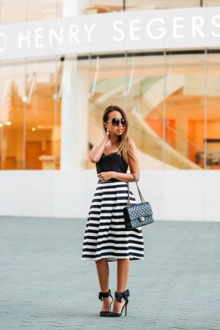 fashion blogger, petite fashion blog, lace and locks, los angeles fashion blogger, morning lavender, striped midi skirt, black and white stripe skirt, bow shoes, black bow shoes
