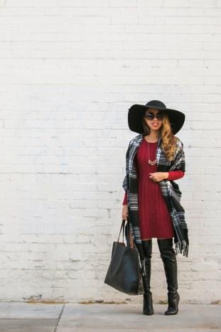 petite fashion blog, lace and locks, los angeles fashion blogger, morning lavender, sweater dress, plaid scarf, fall tote, fall fashion, black floppy hat, streetstyle
