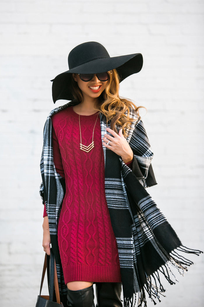 petite fashion blog, lace and locks, los angeles fashion blogger, morning lavender, sweater dress, plaid scarf, fall tote, fall fashion, black floppy hat, streetstyle
