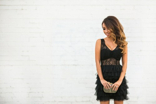 fashion blogger, petite fashion blog, lace and locks, los angeles fashion blogger, morning lavender, lace tulle dress, black lace dress, party dress, evening dress