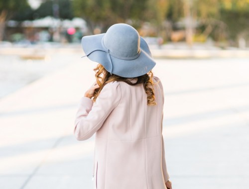 petite fashion blog, lace and locks, los angeles fashion blogger, grey hat, banana republic style, adore top, women pink coat, streetstyle, outfit of the day
