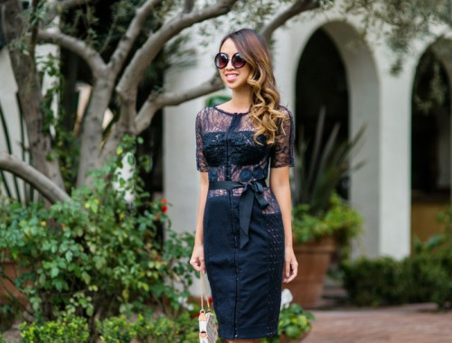 petite fashion blog, lace and locks, los angeles fashion blogger, anthropologie lace dress, anthropologie charisma sheath, style blog, spring fashion
