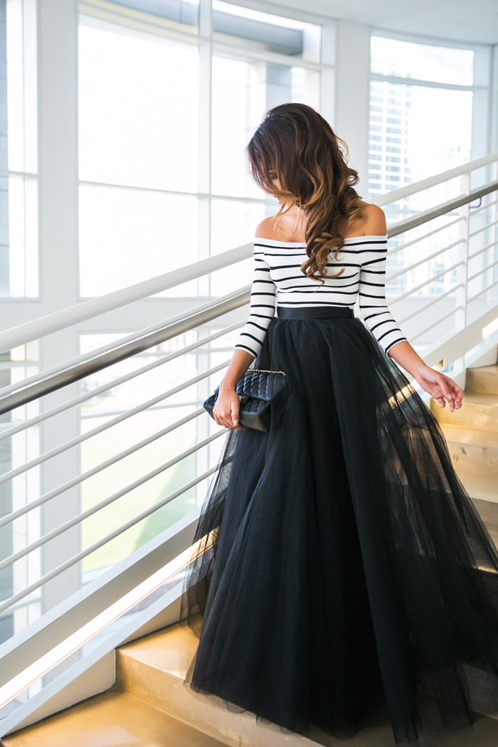 Space 46 Black Tulle Maxi Lace And Locks