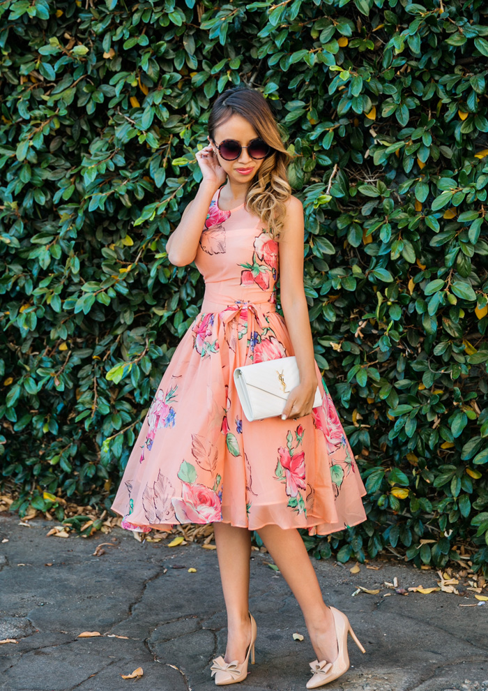 petite fashion blog, lace and locks, los angeles fashion blogger, spring fashion, asos floral dress, floral tulle dress, wedding guest dress, orange county fashion blogger