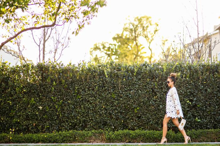 petite fashion blog, lace and locks, los angeles fashion blogger, spring fashion, morning lavender boutique, lace kimono, navy romper