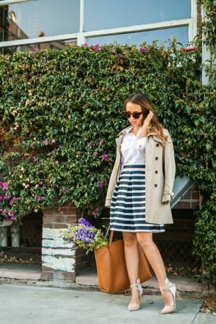 petite fashion blog, lace and locks, los angeles fashion blogger, stripe midi skirt, chicwish skirt, stripe flare skirt, trench coat for women, cute fashion for women