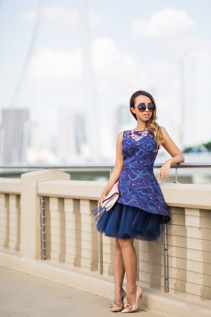 petite fashion blog, lace and locks, los angeles fashion blogger, tulle dress, nha khanh dress, rent the runway nha khanh, dallas fashion blogger, wedding guest style, margaret hunt hill bridge
