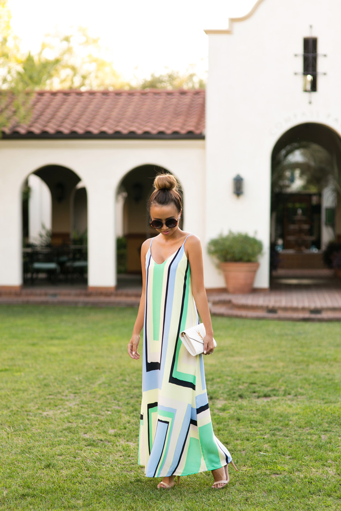 petite fashion blog, lace and locks, los angeles fashion blogger, anthropologie maxi dress, orange county blogger, ysl clutch
