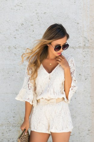 petite fashion blog, lace and locks, los angeles fashion blogger, lace romper, morning lavender romper, lace bow belt, brown mules for women