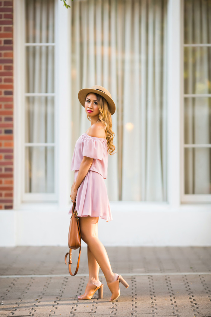 petite fashion blog, lace and locks, los angeles fashion blogger, off the shoulder dress, asos dress, mules for women