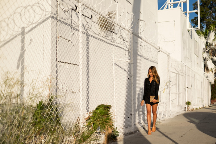 petite fashion blog, lace and locks, los angeles fashion blogger, bates motel los angeles, scallop romper, crop black jacket, brown mules for women