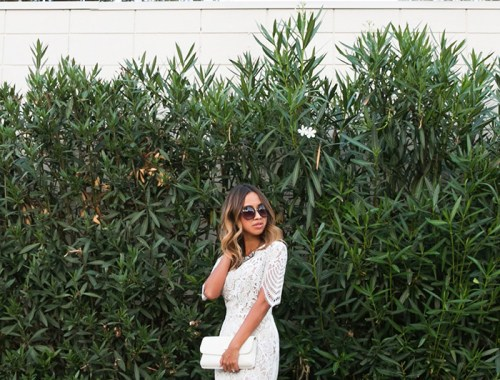 petite fashion blog, lace and locks, los angeles fashion blogger, for love and lemons dress, lace midi dress, white lace dress, bow heels