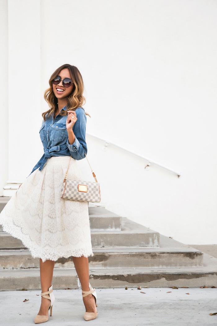 2755a3ddae petite fashion blog, lace and locks, los angeles fashion blogger, lace midi  skirt