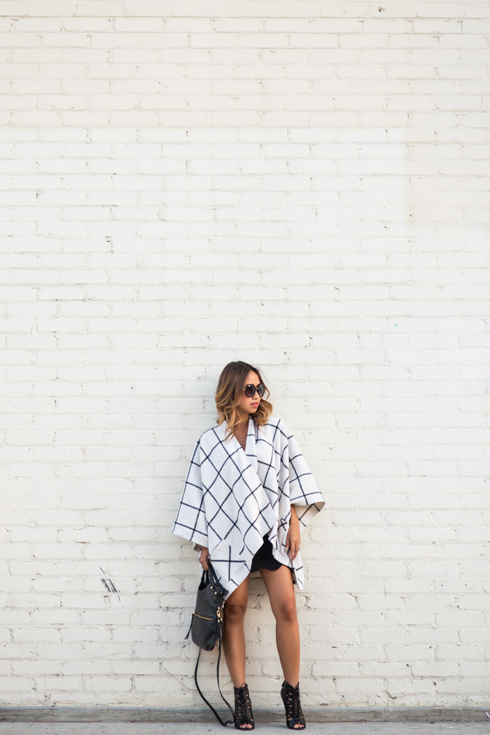 petite fashion blog, lace and locks, los angeles fashion blogger, fall cape, fall fashion, neutral fashion, fall poncho, morning lavender cape, checkered cape, scallop mini skirt
