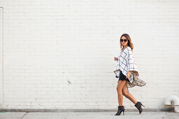 petite fashion blog, lace and locks, los angeles fashion blogger, fall cape, fall fashion, neutral fashion, fall poncho, morning lavender cape, checkered cape, scallop mini skirt