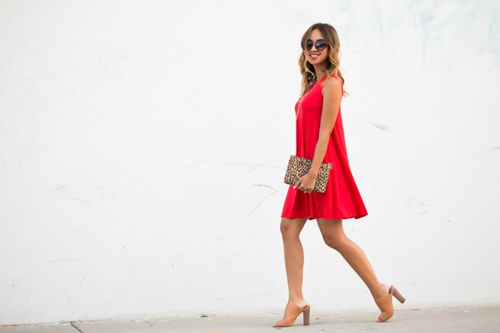 petite fashion blog, lace and locks, los angeles fashion blogger, swing dress, red dress, asos dress, petite dresses for women