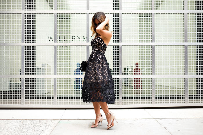 petite fashion blog, lace and locks, los angeles fashion blogger, lace midi dress, black lace dress, morning lavender dress, nyfw dress, reward style dress
