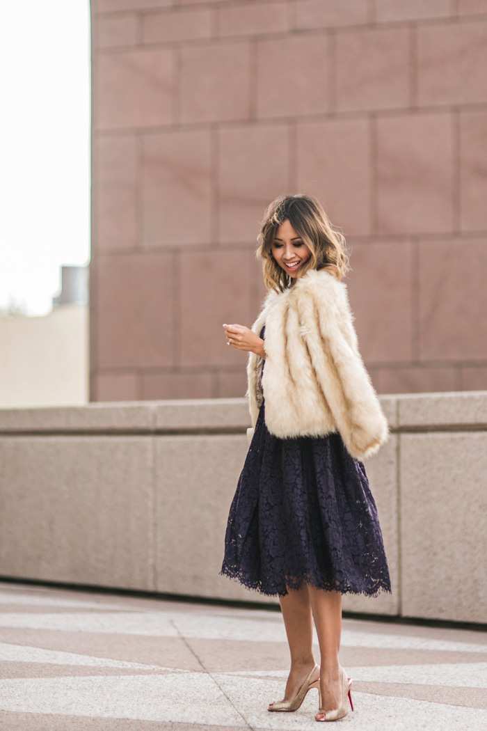 petite fashion blog, lace and locks, los angeles fashion blogger, lace midi dress, faux fur coat, holiday outfit ideas, holiday dress, orange county blogger