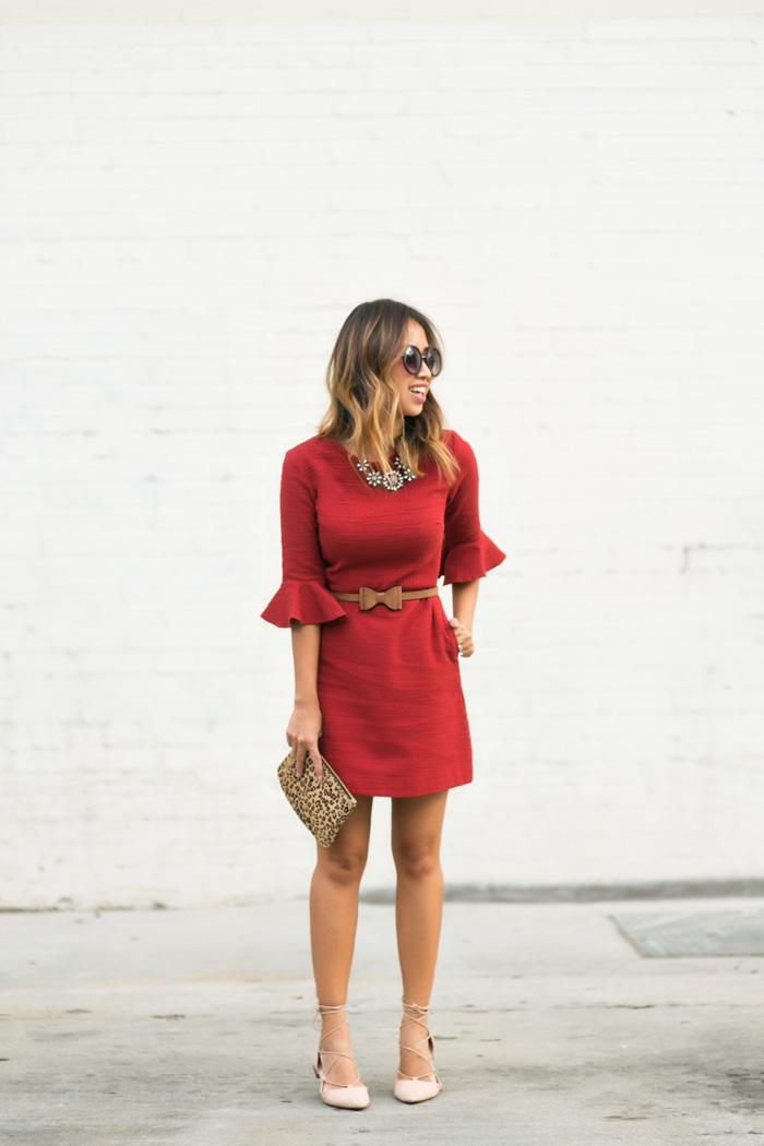 petite fashion blog, lace and locks, los angeles fashion blogger, lace midi dress, topshop red dress, lace up ballerina flats, zara flats, bell sleeve dress