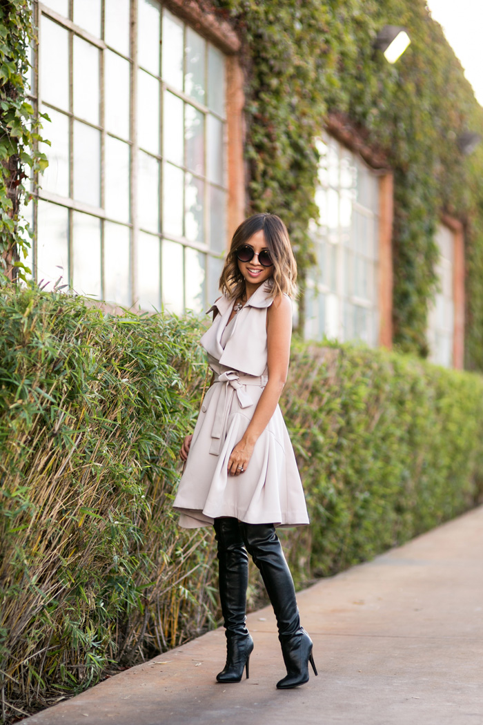petite fashion blog, lace and locks, los angeles fashion blogger, trench coat dress, over the knee boots, chloe mini drew, orange county blogger