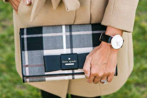 petite fashion blog, lace and locks, los angeles fashion blogger, camel faux fur coat, kate spade plaid clutch, daniel wellington watch, skinny calf boots, fall fashion outfit, daniel wellington discount