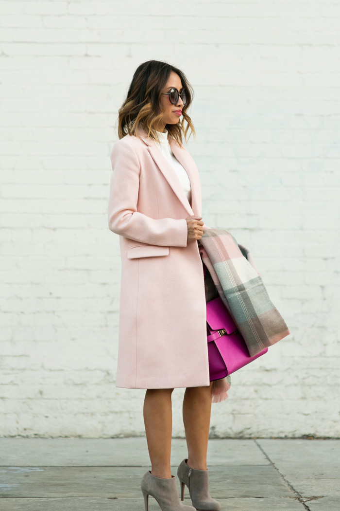 petite fashion blog, lace and locks, los angeles fashion blogger, fall pink coat, fall fashion ideas, plaid blanket scarf, fall pastels, henri bendel