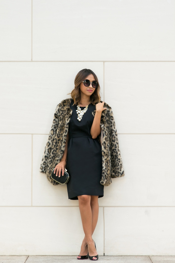 petite fashion blog, lace and locks, los angeles fashion blogger, kate spade bow dress, leopard coat, holiday outfit ideas, holiday dresses, oc blogger