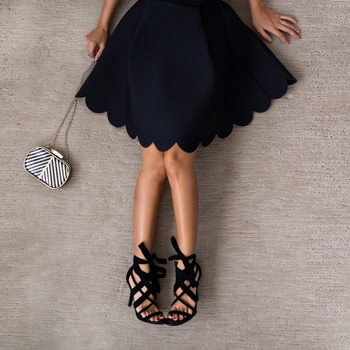 lace and locks, petite fashion blogger, scallop skirt, bow heels, nine west strappy shoes