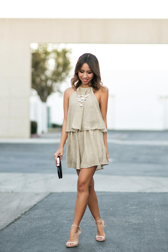 lace and locks, petite fashion blogger, NYE romper, gold romper, dressy romper, morning lavender rompers